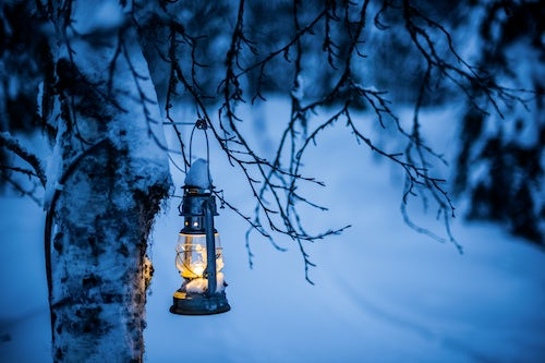 Lapland Finland Travel Photography Christmas glass lantern in a mysterious winter forest scenery Lapland Arctic Circle Finland