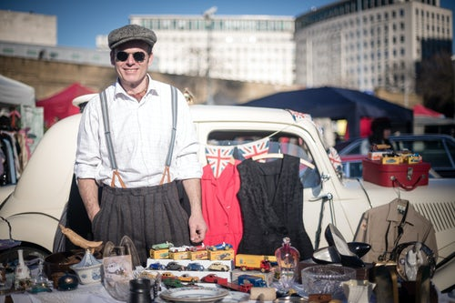 London Street Photography Portrait of a man in vintage fashion at The Classic Car Boot Sale South Bank London England United Kingdom Europe