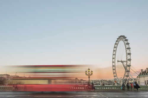 London Travel Photography The London Eye with Red London Bus on Westminster Bridge at sunset South Bank London England