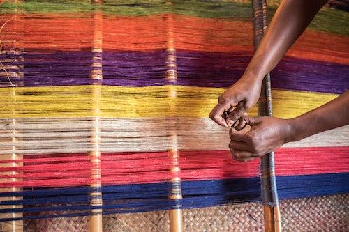 Madagascar Documentary Travel Photography Weaving with silk Ambalavao Madagascar Central Highlands