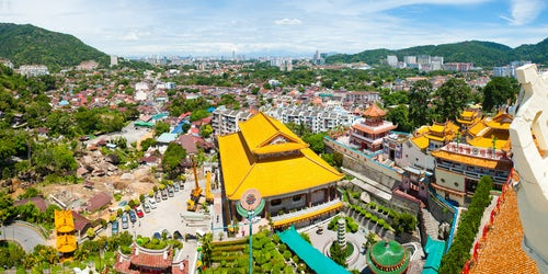 Malaysia Travel Photography Panoramic Photo of the View over George Town from Kek Lok Si Temple Penang Malaysia Southeast Asia