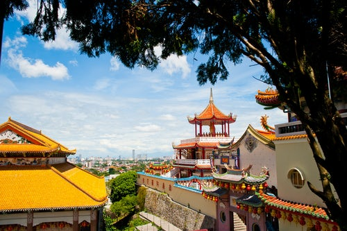 Malaysia Travel Photography View over George Town from Kek Lok Si Temple Penang Malaysia Southeast Asia 2