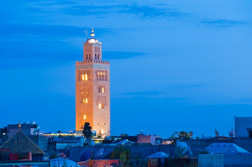 Morocco Architecture Travel Photography Koutoubia Mosque minaret at night Marrakech Marrakesh Morocco North Africa Africa
