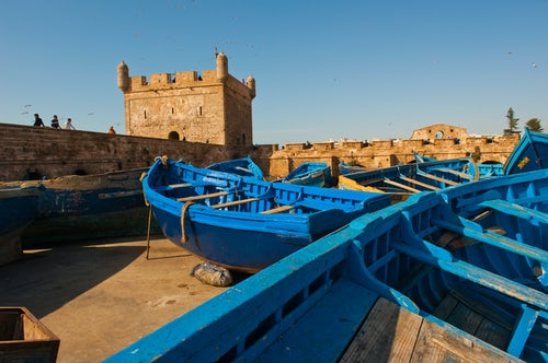 Morocco Travel Photography Blue fishing boats in Essaouira Port formerly Mogador Morocco North Africa Africa