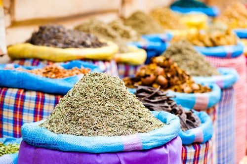 Morocco Travel Photography Colourful spices closeup in the souks of Marrakesh just off Djemaa El Fna Morocco North Africa