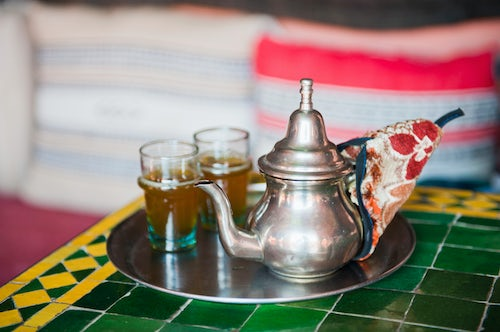 Morocco Travel Photography Moroccan mint tea pot at a cafe in Marrakech Marrakesh Morocco North Africa Africa