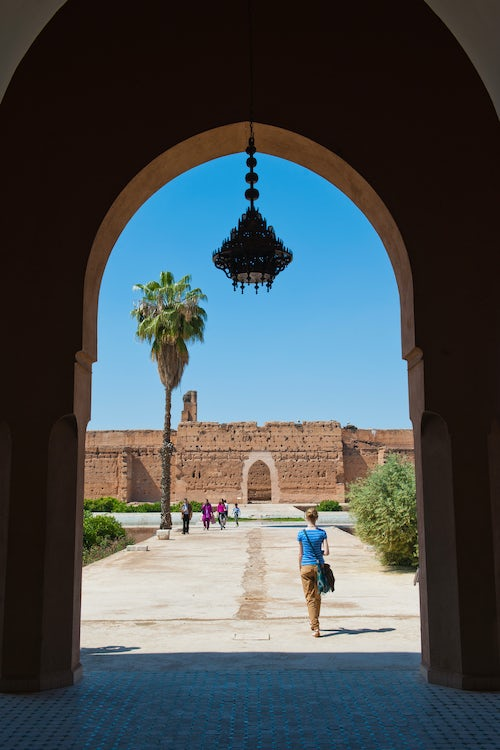 Morocco Travel Photography Tourist visiting El Badi Palace Marrakech Marrakesh Morocco North Africa Africa