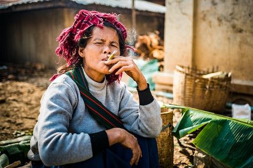 Myanmar Burma Portrait Travel Photography Documentary Portraiture Portrait of Pa O woman at Ywama Market Inle Lake Shan State Myanmar Burma 3