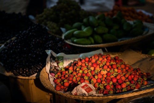 Myanmar Burma Travel Photography Fruit and vegetables for sale at Ywama Market Inle Lake Shan State Myanmar Burma