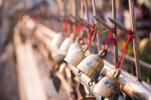 Myanmar Burma Travel Photography Prayer bells at Golden Rock Kyaiktiyo Pagoda Mon State Myanmar Burma