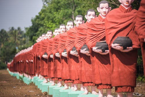 Myanmar Burma Travel Photography Statues of disciples of Arahant perfected people who have attained nirvana Mawlamyine Mon State Myanmar Burma
