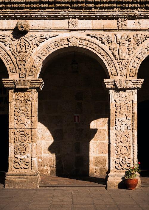 Peru Architecture Travel Photography Arequipa Church stone arch Iglesia de la Compania de Jesus Arequipa Peru South America