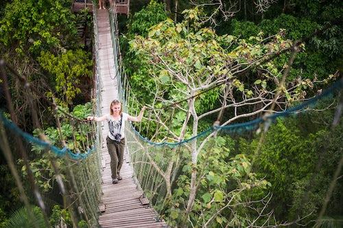 Peru Travel Photography Amazon Jungle swinging rope bridge in Puerto Maldonado area of Peru South America 3