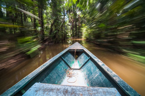 Peru Travel Photography Canoe boat trip in Amazon Jungle of Peru by Sandoval Lake in Tambopata National Reserve South America