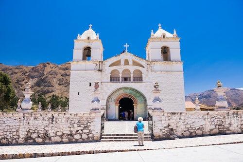 Peru Travel Photography Iglesia de Santa Ana de Maca a church in Maca Colca Canyon Peru South America