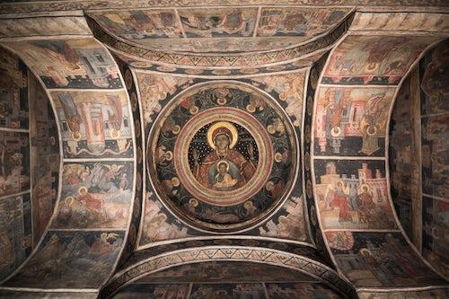 Romania Architecture Travel Photography Stavropoleos Monastery a beautiful painted church in Bucharest Muntenia Region Romania