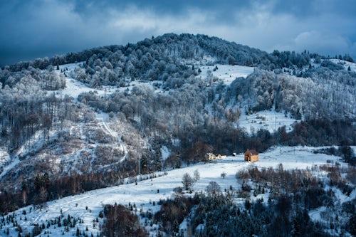 Romania Landscape Travel Photography Winter landscapes of Carpathian Mountains near Brasov Brasov County Romania