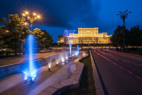 Romania Travel Photography Palace of the Parliament at night Bucharest Muntenia Region Romania
