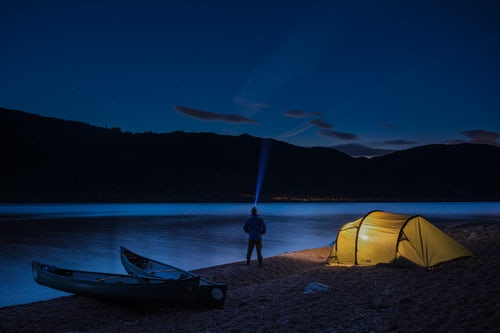 Scotland Adventure Travel Photography Camping at Loch Ness at night while canoeing the Caledonian Canal Scottish Highlands Scotland United Kingdom Europe