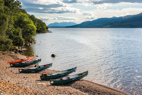 Scotland Adventure Travel Photography Canoeing Loch Ness section of the Caledonian Canal near Fort Augustus Scottish Highlands Scotland United Kingdom Europe