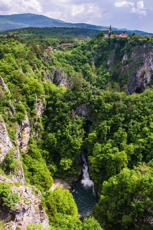 Slovenia Landscape Photography Velika Dolina lieterally Big Valley a town above the Skocjan Caves a UNESCO World Heritage Site in the Karst Region Kras Region of Slovenia Europe