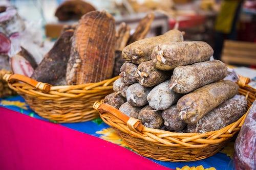 Slovenia Travel Photography Dried meats in Tartini Square Market Piran Slovenian Istria Slovenia Europe