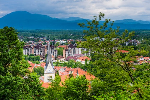 Slovenia Travel Photography View from Ljubljana Castle over Ljubljana Old Town looking out over The Church of St James Ljubljana Slovenia Europe