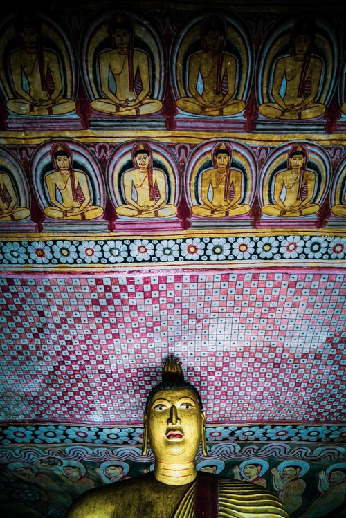 Sri Lanka Travel Photography Dambulla Cave Temples Buddha and wall painting in cave 2 Cave of the Great Kings UNESCO World Heritage Site Dambulla Sri Lanka Asia