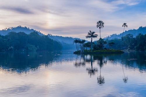 Sri Lanka Travel Photography Kandy the island of the Royal Summer House in Kandy Lake at sunrise Kandy Central Province Sri Lanka Asia