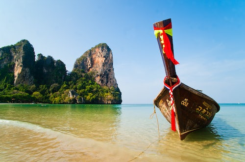 Thailand Beach Travel Landscape Photography Long Tail Boat on Koh Phi Phi South Thailand Southeast Asia