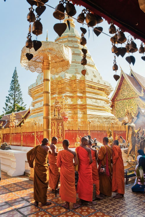 Thailand Documentary Travel Photography Group of Buddhist Monks praying at Wat Doi Suthep Temple Chiang Mai Thailand Southeast Asia Asia Southeast Asia