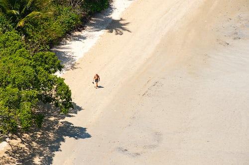 Thailand Travel Photography Tourist Walking Along Deserted East Railay Rai Leh Beach South Thailand Southeast Asia