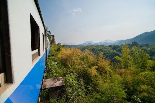 Thailand Travel Photography Train on the Death Railway along the River Kwai Kanchanaburi Thailand Southeast Asia Asia Southeast Asia
