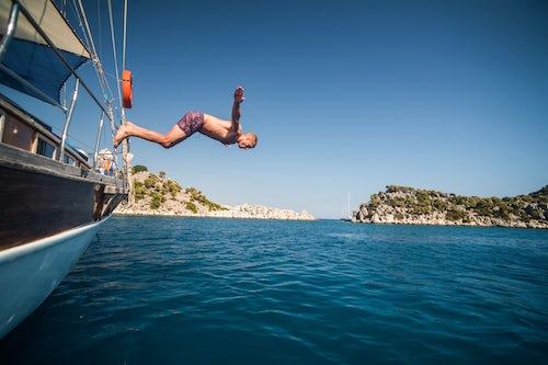 Turkey Travel Photography Diving off a Gulet sailing boat cruise in Gokkaya Bay Antalya Province Lycia Anatolia Mediterranean Turkey Eastern Europe