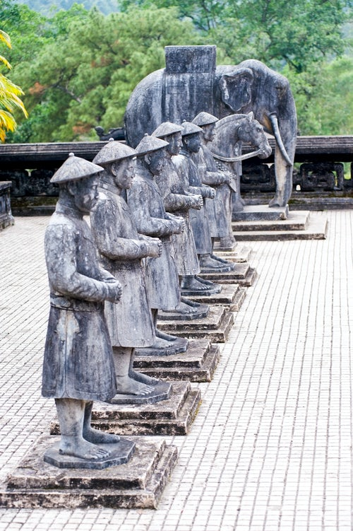 Vietnam Travel Photography Stone Statues of Vietnamese People and an Elephant at The Tomb of Khai Dinh Hue Vietnam Southeast Asia