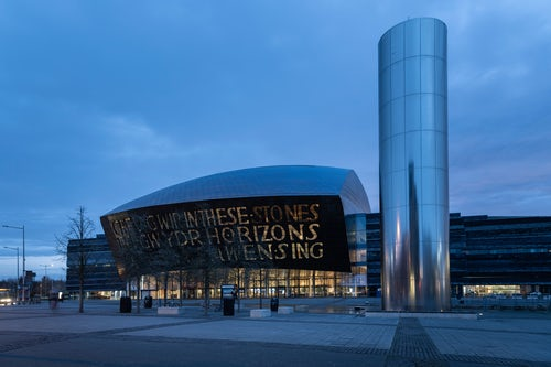 Wales Cityscape Photography Millennium Centre and Roald Dahl Plass at sunrise Cardiff Bay Cardiff Wales
