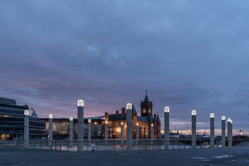 Wales Cityscape Photography Pierhead Building and Roald Dahl Plass at sunrise Cardiff Bay Cardiff Wales