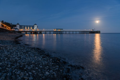Wales Landscape Photography Penarth Pier moon rising during supermoon moon rise Penarth Cardiff Wales 2