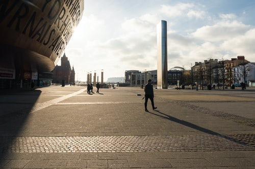 Wales Travel Photography Millennium Centre and Roald Dahl Plass at sunrise Cardiff Bay Cardiff Wales