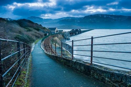 Wales Landscape Photography Barmouth Bridge at sunrise Snowdonia National Park North Wales