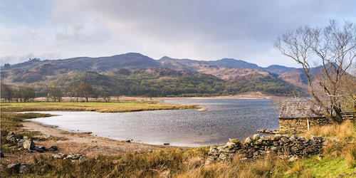 Wales Landscape Photography Llyn Dinas Lake in first sunlight Snowdonia National Park North Wales