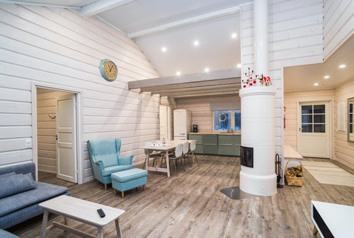 Architecture and Hotel Photography by Professional Freelance Hotel Property and Resort Photographer in London England UK Cabin in Akaslompolo Lapland Finland