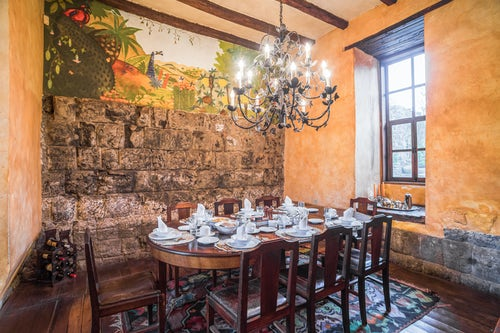 Architecture and Hotel Photography by Professional Freelance Hotel Property and Resort Photographer in London England UK Dining room at Hacienda San Agustin de Callo luxury boutique hotel