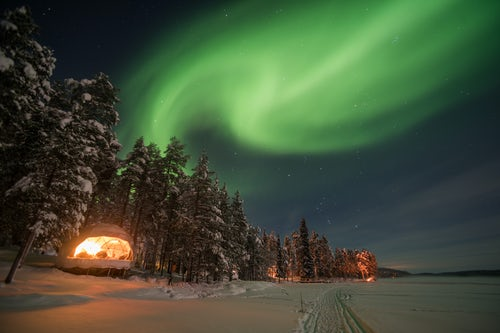 Architecture and Hotel Photography by Professional Freelance Hotel Property and Resort Photographer in London England UK Northern Lights aurora borealis Torassieppi Finnish Lapland Finland