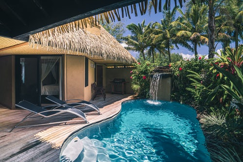Architecture and Hotel Photography by Professional Freelance Hotel Property and Resort Photographer in London England UK Private pool at a luxury Villa on a tropical island at Muri Rarotonga Cook Islands