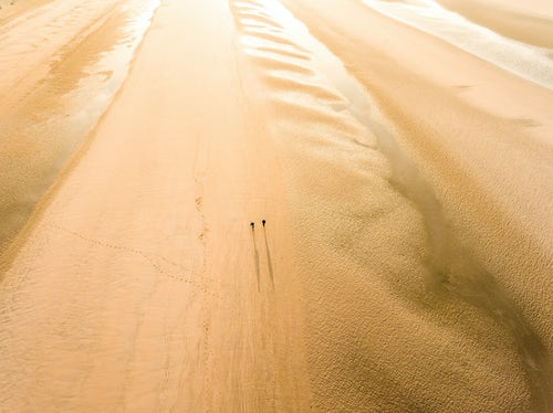 Drone Photography by UK London Freelance Drone Photographer Camber Sands Beach at sunrise Camber near Rye East Sussex England 3