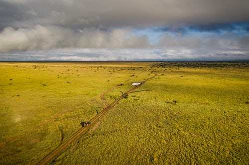 Drone Photography by UK London Freelance Drone Photographer On a safari drive wildlife holiday at the plains at Sosian Ranch Laikipia County Kenya drone