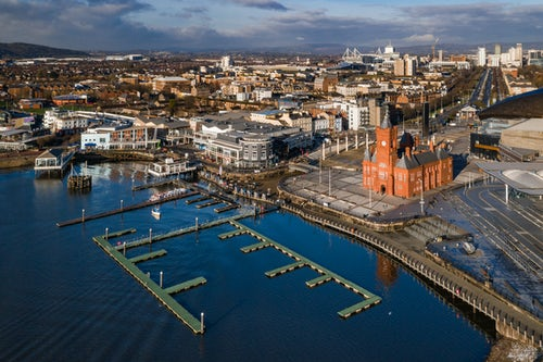 Drone Photography by UK London Freelance Drone Photographer Pierhead building and Cardiff Bay Cardiff Wales