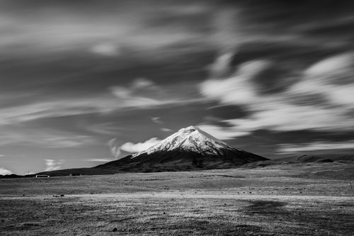 Landscape Photography by Professional Freelance UK Landscape Photographer Black and white photo of Cotopaxi Volcano 5897m summit Cotopaxi National Park Cotopaxi Province Ecuador South America