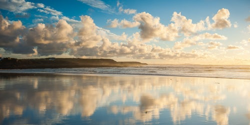 Landscape Photography by Professional Freelance UK Landscape Photographer Cloud reflections at Constantine Bay at sunset Cornwall England United Kingdom Europe